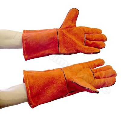 Pair Of Leather Safety Bbq  Welding Welders Gauntlets Gloves