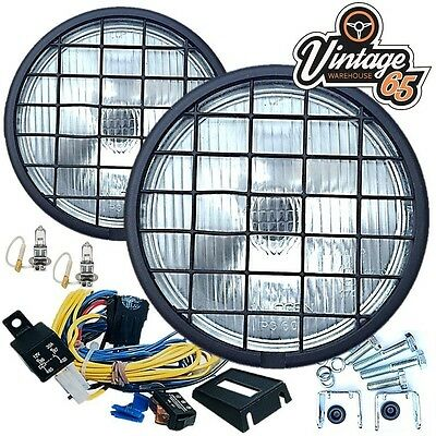 """Land Rover 6"""" 55w Halogen Spot Driving Lights Stoneguards Grills Wiring Kit Pair"""