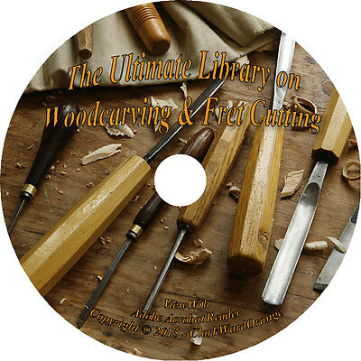 25 RARE Books on CD Woodcarving & Fret Cutting, Woodwork How to Wood Carve Tools
