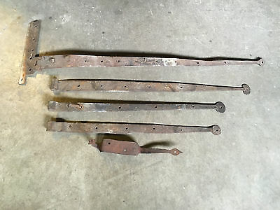 Antique Primitive Set / Lot of 5 Wrought Iron Old Door Large Hinges