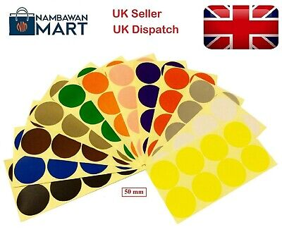 50mm Coloured Dots Round Stickers Sticky Adhesive Spot Circle Paper Labels BN UK