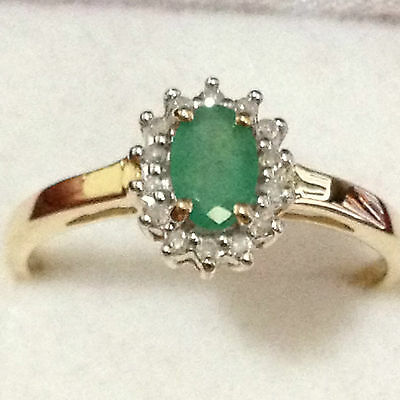 Real 9K Solid Yellow Gold 0.57 TW Genuine Earth Mine Emerald & Diamond Halo Ring