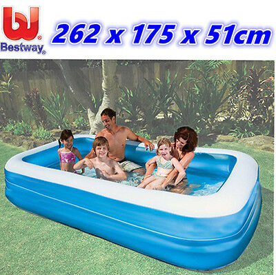 Bestway Deluxe Blue Inflatable Family Swimming Pool Wading Above Ground Kids