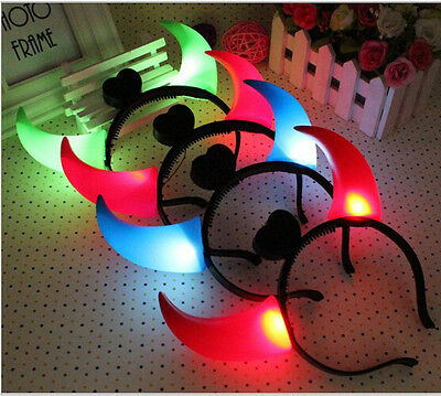 Fashion LED Devil Horn Light Up Headband Flashing Horn Halloween&Christmas Party