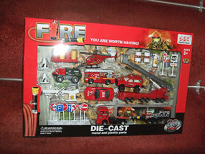 Large 1:87 Diecast Fire Brigade Set Inc Engines, Cars, Helicopter And Accessorie