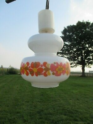 Vintage Chandelier Pendant white glass  Orange Flowers 70s  Lovely