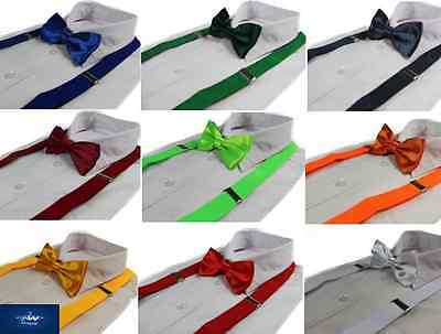 2 Piece Pack Adjustable Men's Suspenders Braces + Pre-Tied Bow Tie Mens & Womens