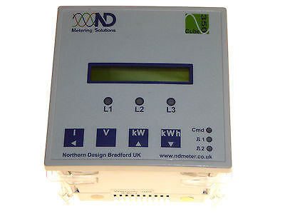 sub-metering panel mount electricity meter ND cube350 5 amp 3 phase 3/4  NEW