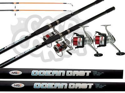 NGT 2 x Sea Fishing 14FT 3pc Beachcaster Rods & Silk 70 Reels Set With Line