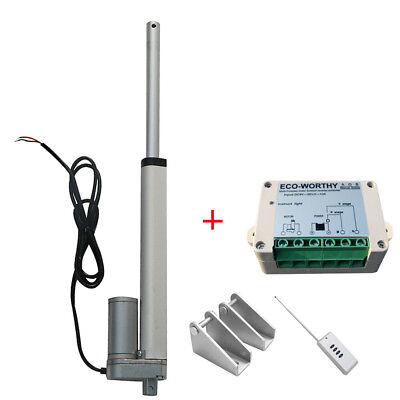 "12Volt 8"" Linear Actuator Motor 330lb Max Lift & Wireless Remote Controller"