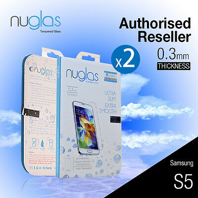 2X Genuine Nuglas Tempered Glass Screen Protector for Samsung Galaxy S5 9H Film