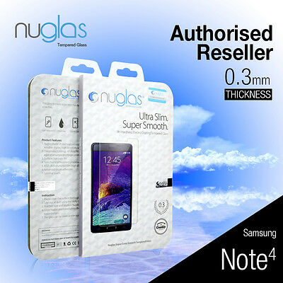 2X Genuine Nuglas Tempered Glass Screen Protector for Samsung Galaxy Note 4 Film