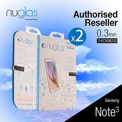 2X Genuine Nuglas Tempered Glass Screen Protector for Samsung Galaxy Note 3 Film