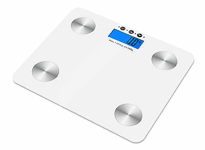 180kg Digital Body Fat Water Bone Calories BMI Analyser Glass Bathroom Scales UK