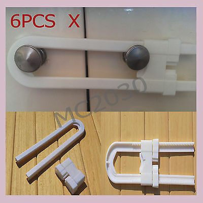 OZ 6xU Shape Cupboard Door Security Safety Locks for Baby Child Kids Toddler