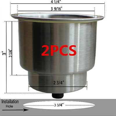 Great 2X Stainless Steel Cup Drink Holder Marine Boat Car Truck Camper RV