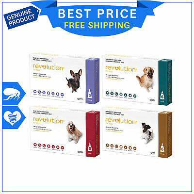 Revolution for Dogs 6 Pipettes + Canex Flea Heartworm Worm Prevention by Zoetis