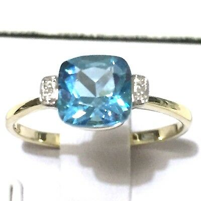 Real 9K Yellow Gold , Cushion Genuine Swiss Blue Topaz, Diamond Ring Sz 6.75