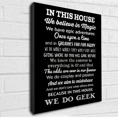 """In this House we do Geek typography canvas wall art  12x16"""""""