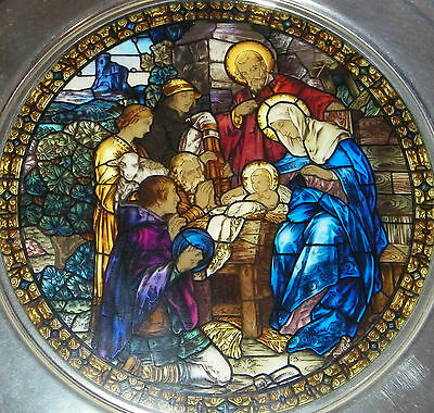 1988 Stained Glass & Pewter Christmas Plate (US Historical) THE ADORATION