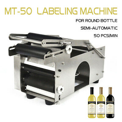 USA Stock LABELER MACHINE MT-50 SEMI-AUTOMATIC ROUND BOTTLE LABELING MACHINE