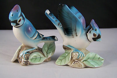 Pretty Blue Jay Bird Salt and Pepper Shakers