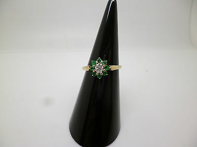 9ct yellow gold emerald and diamond cluster ring size M 1/2
