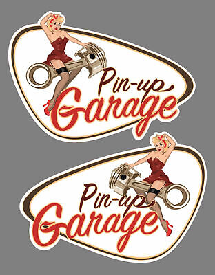 Set li+re Pin Up Garage Old School Aufkleber Sticker Bobber Cafe Racer Retro #8
