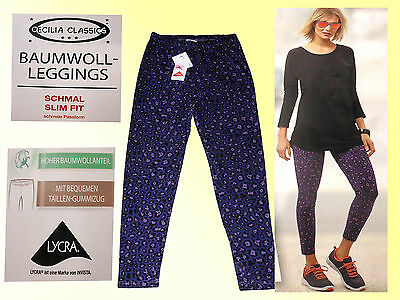 Damen Stretch Hose Leggings Sporthose LEGGING Slim Fit Gr. S lila gemustert