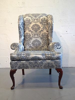 great wingback chair silk fabric george wing chair mahogany quality