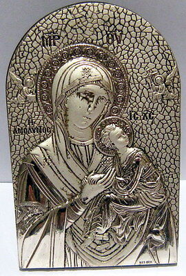 Outstanding Orthodox Silver Plated Icon Madonna And Child,handmade In Greece#772