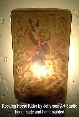 Curved Porcelain Lithophane Night Light, Rocking Horse Rider,hand made & painted