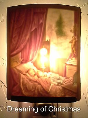 Curved Porcelain Lithophane Night Light, Dreaming of Christmas, Colored,  *NEW*
