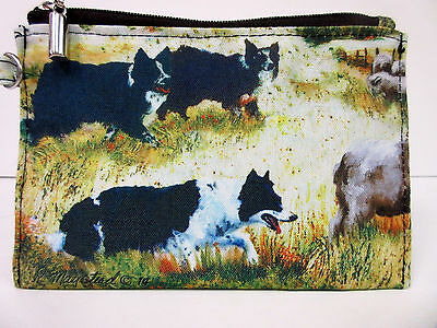New Border Collie Dog Zippered Handy Pouch Make-up/Coin Purse 3 Collies Dogs