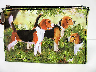 New Beagle Dog Zippered Handy Pouch Make-up/Coin Purse 3 Beagles Dogs By Ruth