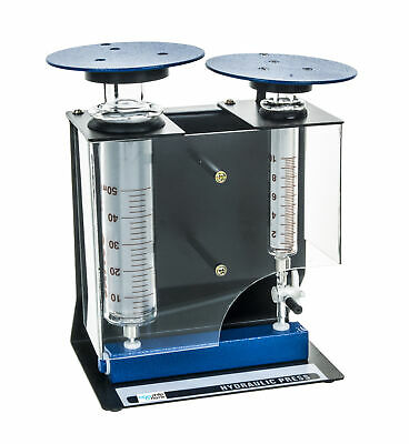 Eisco Labs Hydraulic Press with Borosilicate Glass Cylinders.