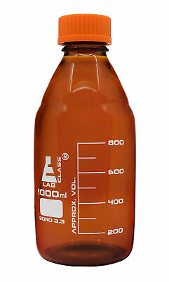 Eisco Labs 1000ml Amber Reagent Bottle with Screw Cap and 50ml Graduations