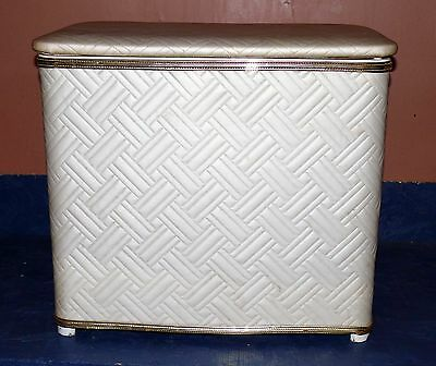 Vintage Pink Metal And Quilted Vinyl 1960 S Laundry Hamper