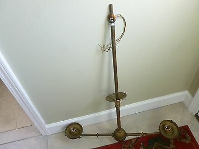 "Two Arm w/Ball Brass T Oil Light Lamp Electrified Pull Chain 4"" Fitter Swirl Rod"