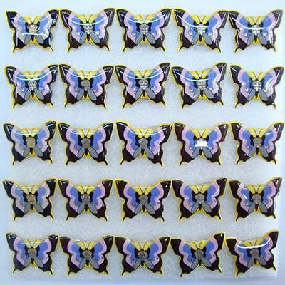 Lot Purple Butterfly LED Flashing Light Up Badge/Brooch Pins Christmas T013