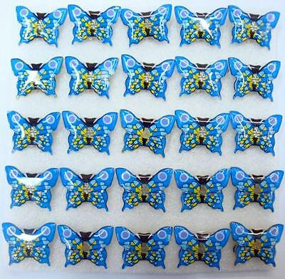 Lot Blue Butterfly LED Flashing Light Up Badge/Brooch Pins Christmas T015