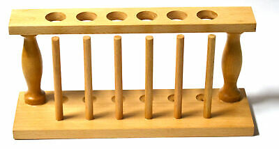 "Test Tube Rack, (6) 25m Holes and (6) Pins - Solid Wood - 9.4"" Long, 3.75"" Tall"