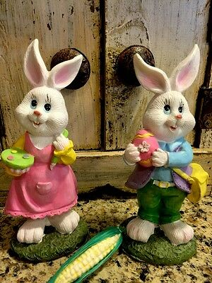 S/2 Easter Bunny Rabbits Village DECOR Chocolate Basket Eggs Centerpiece Wreath