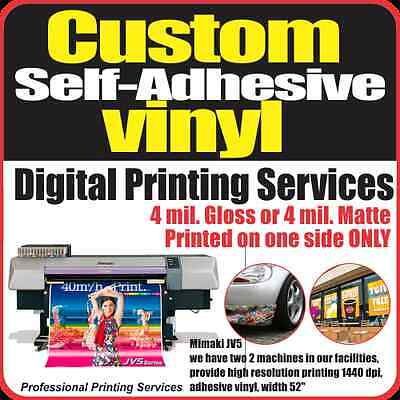 Custom Sign Decal Sticker Self-Adhesive Vinyl Printing Services FREE LAMINATION