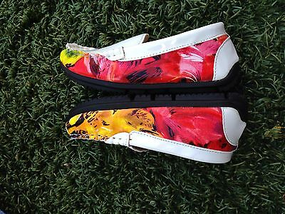 White Floral Kids Girls Loafer Shoe Colorful Brand New So Fresh Cute Eu 25 27
