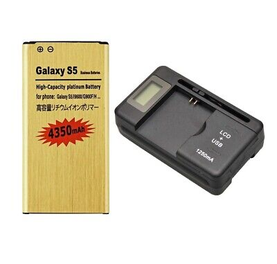 4350mAh Gold Battery / Dock Charger For Samsung Galaxy S5 i9600 G900A G900P G900