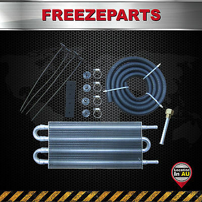 4 Row Aluminum Remote Transmission Oil Cooler Auto-Manual Radiator Converter Kit
