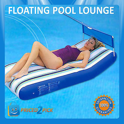 Outdoor Inflatable Swimming Pool Float Lounge Chair Recliner with Sunshade