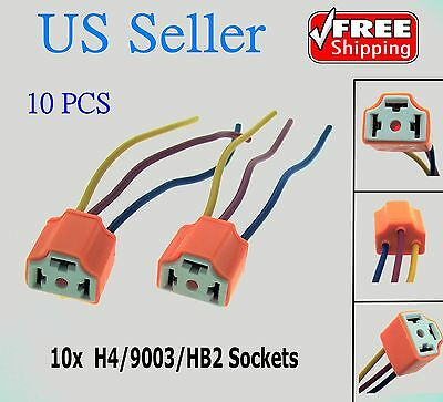 10x H4/9003/HB2 Female Pigtail Ceramic Headlight Connector/Plug/Adapter/Socket