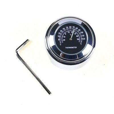 """7/8"""" 1"""" Chrome Motorcycle Handlebar Mount Dial Thermometer Temp Black"""